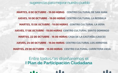 El Ayuntamiento emprende la elaboración del I Plan de Participación Ciudadana con encuentros vecinales