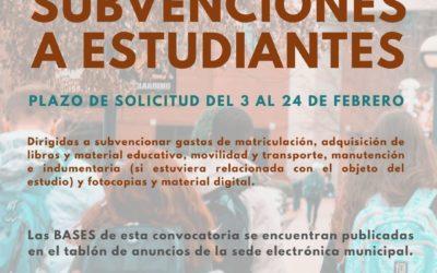 El Ayuntamiento destina una partida de 45.000 euros para ayudas a los estudiantes del municipio