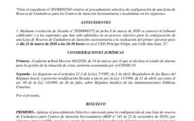 Anuncio por el que se aplaza el proceso selectivo para la configuración de una lista de reserva de Cuidadores