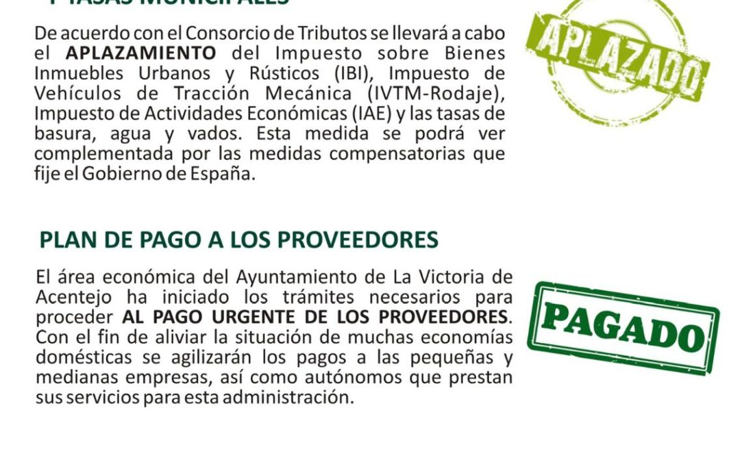 El Ayuntamiento de La Victoria adopta medidas económicas de apoyo a los vecinos y el comercio local frente al coronavirus