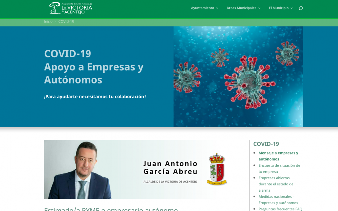 El Ayuntamiento de La Victoria crea un apartado específico en la web municipal para ayudar a empresas y autónomos frente al COVID-19