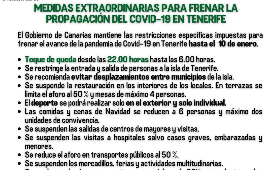 El Gobierno de Canarias prorroga las medidas restrictivas para frenar la transmisión del Covid-19 en Tenerife 𝗵𝗮𝘀𝘁𝗮 𝗲𝗹 𝟭𝟬 𝗱𝗲 𝗲𝗻𝗲𝗿𝗼