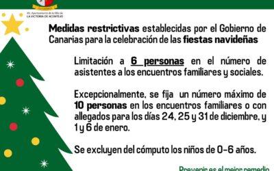 Medidas restrictivas del Gobierno de Canarias específicas para la celebración de las fiestas navideñas
