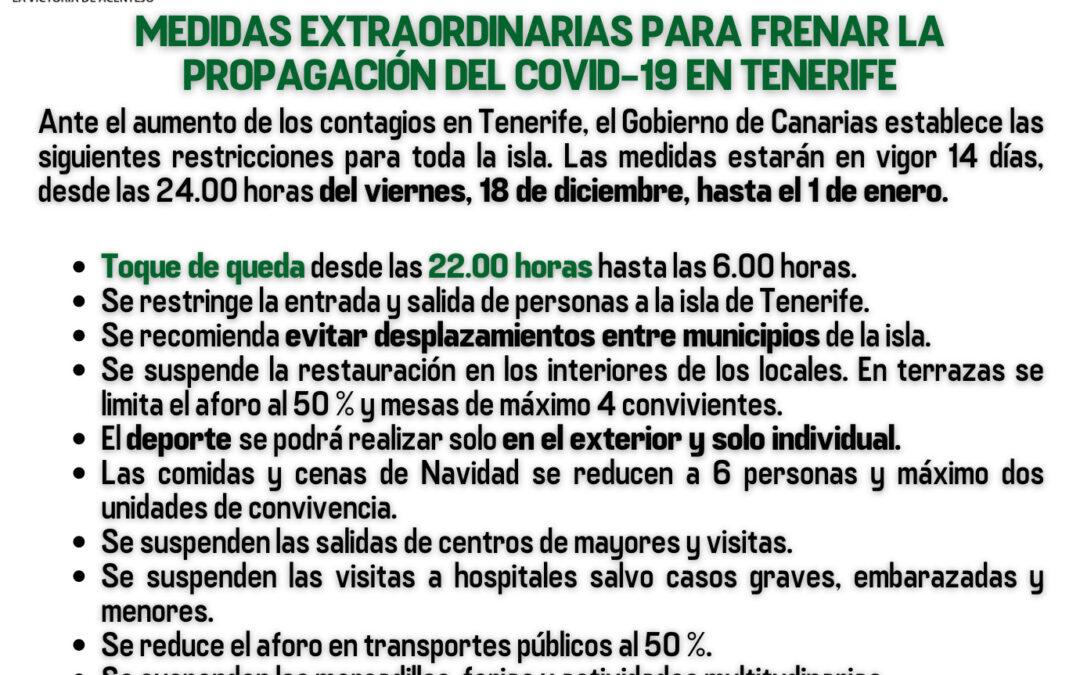 Nuevas medidas restrictivas establecidas para la contención del Covid-19 en Tenerife